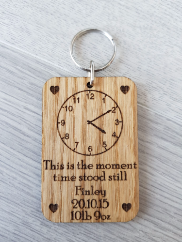 'The moment time stood still' Personalised Birth Clock face Keyring.